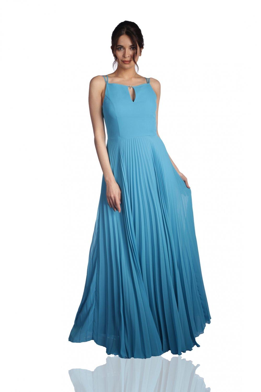 3c40bf1a572c8 6ixty8ight Turkuaz Uzun Abiye Elbise | ElbiseBul