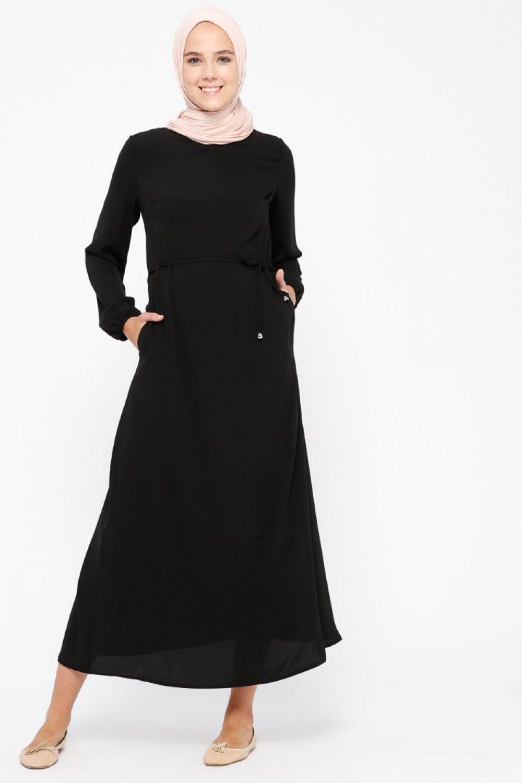 72ab1da621791 Beha Tesettür Siyah Düz Renk Elbise | ElbiseBul
