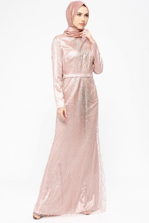 7464f8481ed92 Armine Pudra Taşlı Simli Abiye Elbise | ElbiseBul