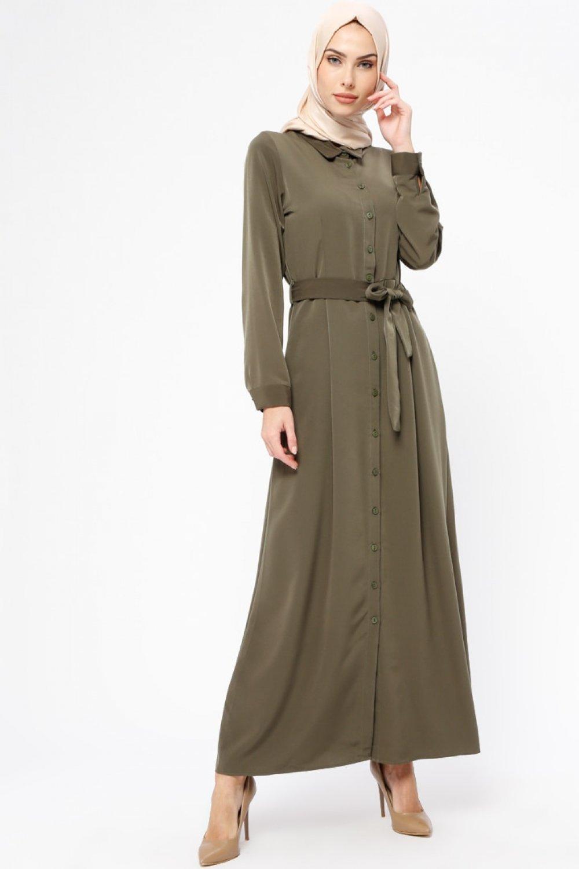 a23c08349e1db Tavin Haki Boydan Düğmeli Elbise   ElbiseBul