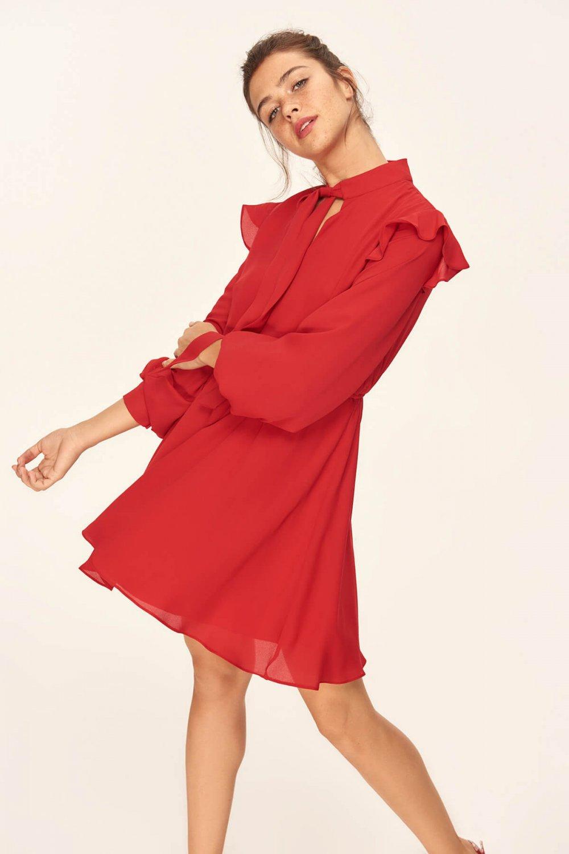 65c752c0b43cf Trendyolmilla Kırmızı Fırfır Detaylı Mini Elbise | ElbiseBul