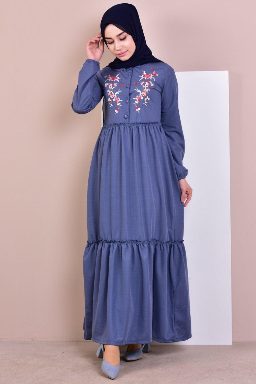 151d6859958aa Sefamerve İndigo Nakışlı Elbise   ElbiseBul