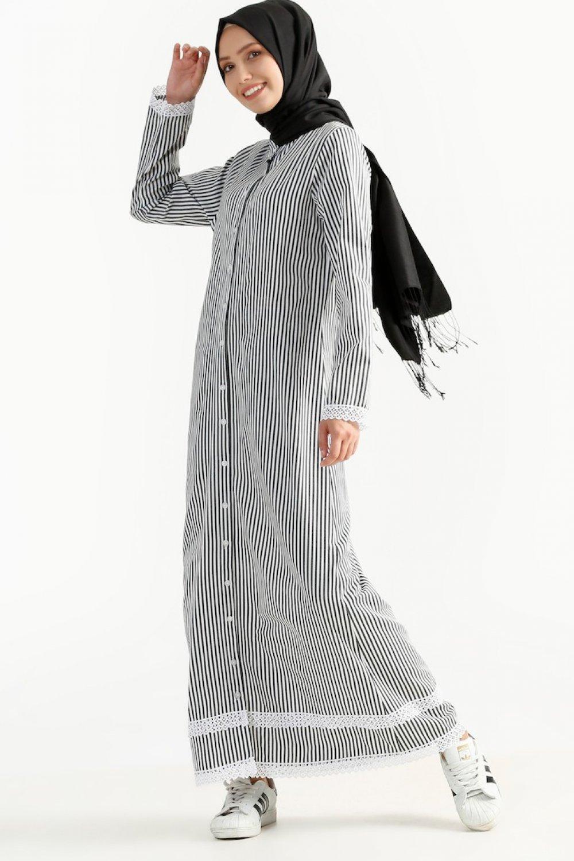 32caacb20cbdc Sefamerve Siyah Dantelli Gömlek Elbise | ElbiseBul