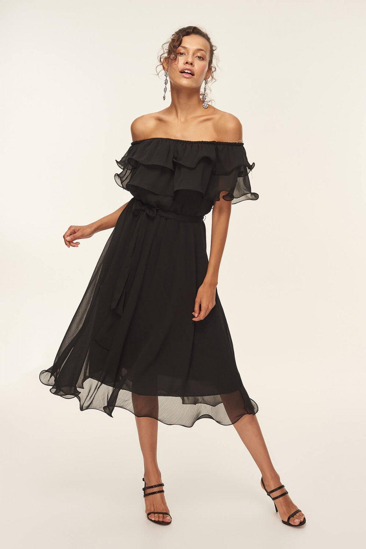 f857715fd521c Trendyolmilla Siyah Carmen Yaka Volanlı Midi Elbise | ElbiseBul