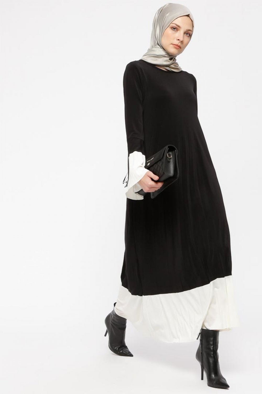 3aa120eee42bc Tavin Siyah Beyaz Pileli Elbise   ElbiseBul