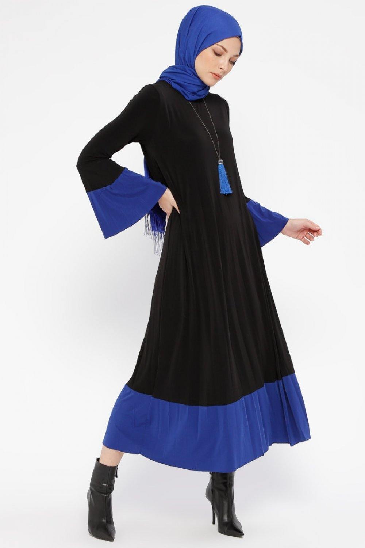 3f5c8efc8264d Tavin Siyah Saks Pileli Elbise   ElbiseBul