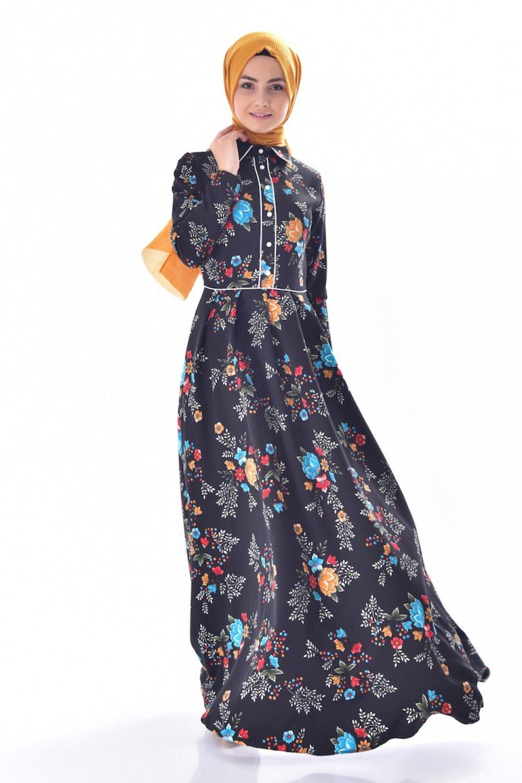 dcbcf66621cb5 Sefamerve Siyah Gömlek Yaka Desenli Elbise | ElbiseBul
