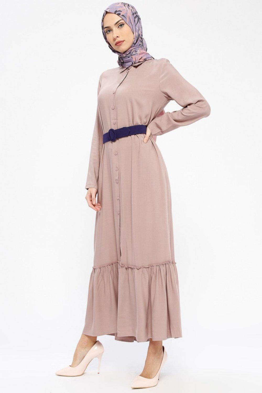 b745871f8baee Tavin Vizon Doğal Kumaşlı Boydan Düğmeli Elbise   ElbiseBul