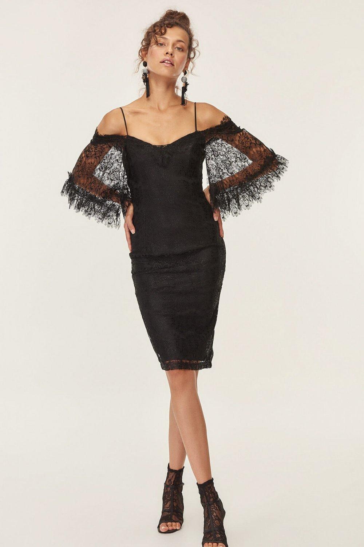 d97db5d0ae5f1 Trendyolmilla Siyah Kolu Volanlı Dantel Midi Elbise | ElbiseBul