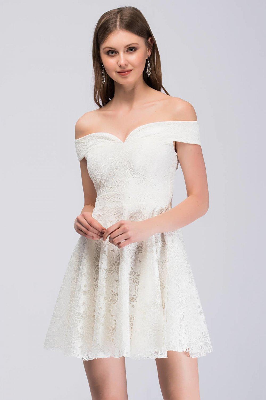 34fdda5a55103 İroni Ekru Kayık Yaka Dantel Mini Abiye Elbise | ElbiseBul