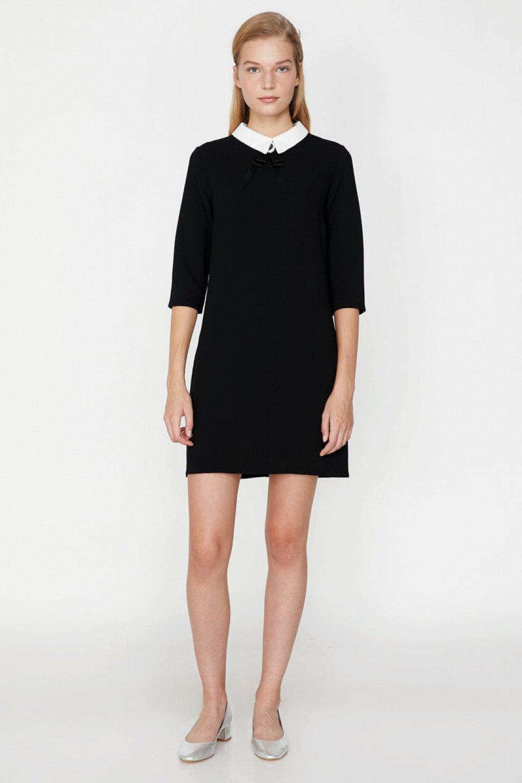f32ec1cc7fb8c Koton Gömlek Yaka Siyah Mini Elbise | ElbiseBul