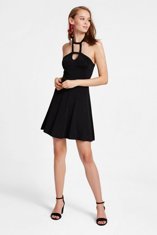 Oxxo Siyah Yaka Detaylı Mini Abiye Elbise