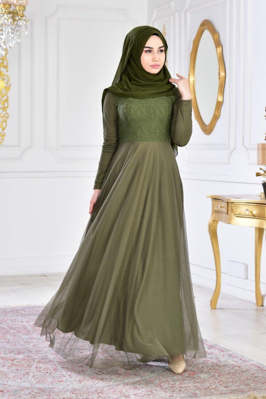 e29e6bc7b20df Sefamerve Haki Dantelli Şifon Abiye Elbise | ElbiseBul