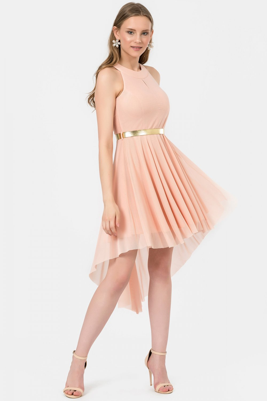 f3458f553072b İroni Pudra Sırtı Dantelli Asimetrik Mini Abiye Elbise | ElbiseBul