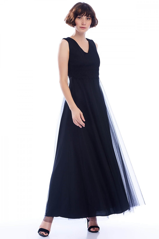 ecbb649c41638 İroni Siyah Güpürlü Uzun Tül Abiye Elbise | ElbiseBul