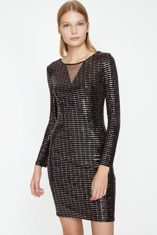 3b4b5a9314104 Koton Yaka Detaylı Altın Rengi Mini Abiye Elbise | ElbiseBul