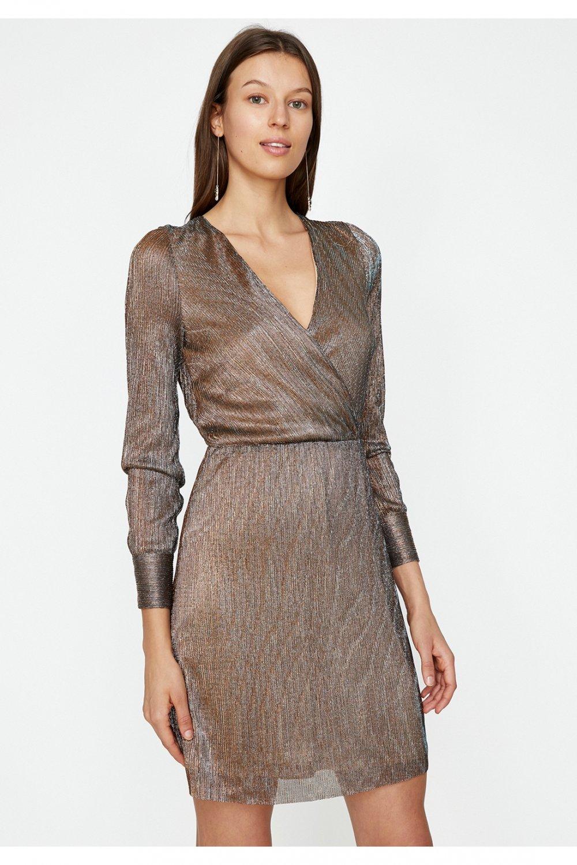 fca1bef34bb0f Koton Altın Desenli Sim Detaylı Anvelop Mini Elbise | ElbiseBul