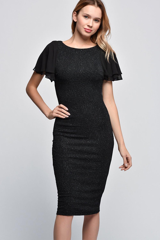 3920205729652 Koton Sarı Siyah Desenli Midi Elbise | ElbiseBul