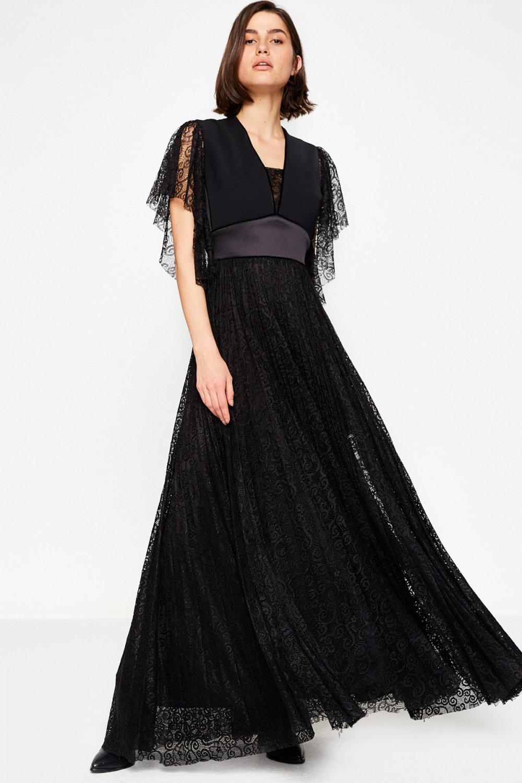 c2b5929b1b9e9 Koton Siyah Uzun Abiye Elbise | ElbiseBul