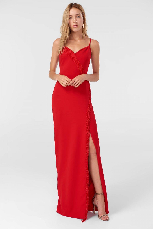 4c3cd73affd39 Trendyolmilla Askılı Kırmızı Püskül Detaylı Uzun Abiye Elbise ...