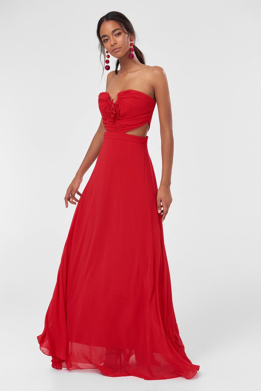 b22a916ce4bea Trendyolmilla Straplez Kırmızı Çiçek Detaylı Uzun Abiye Elbise ...