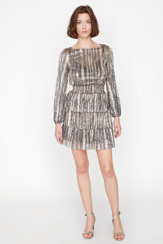 1e870d9b73f43 Koton Desenli Altın Rengi Mini Elbise | ElbiseBul