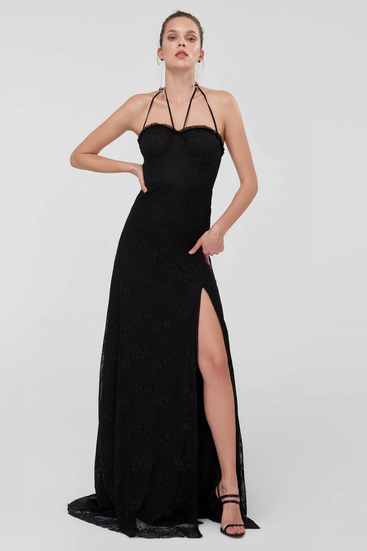 235e29ff586cf Trendyolmilla Askılı Siyah Biye Detaylı Dantel Uzun Abiye Elbise ...