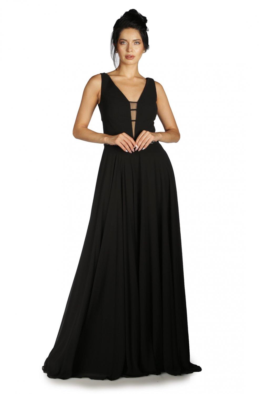 87a3615686f28 Pierre Cardin Sırt Dekolteli Siyah Uzun Abiye Elbise | ElbiseBul