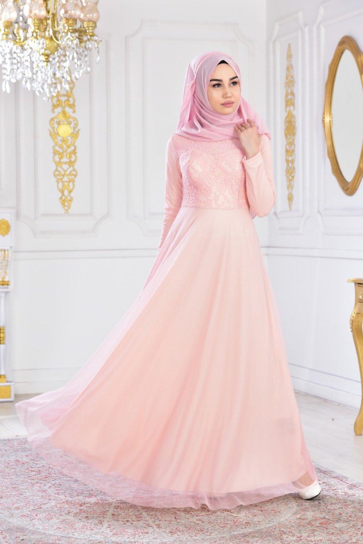 0014f9c7ff614 Sefamerve Pudra Dantelli Şifon Abiye Elbise   ElbiseBul