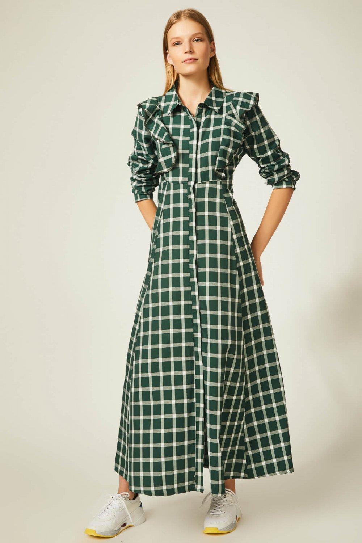 76c6f0a090f6b Happiness İst. Yeşil Önü Fırfırlı Kareli Uzun Yünlü Gömlek Elbise ...