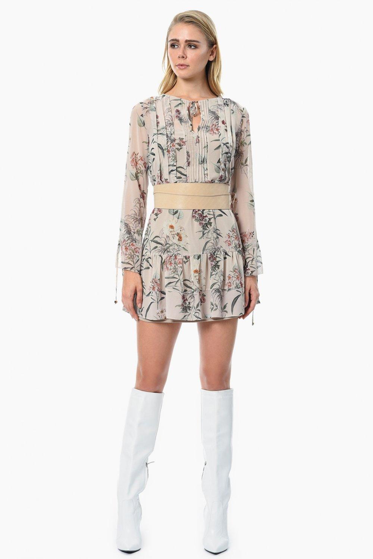 bbb2d983d0273 Network Pudra Rengi Uzun Kollu Çiçekli Mini Şifon Elbise | ElbiseBul