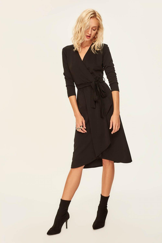 af1d324c6ffc5 Trendyolmilla Siyah Kruvaze Midi Elbise   ElbiseBul