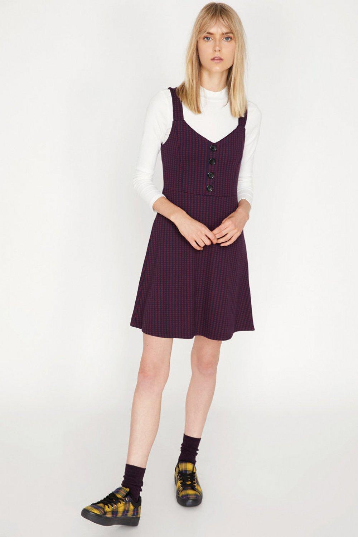 6a9f5202148ee Koton Askılı Düğme Detaylı Bordo Desenli Mini Elbise | ElbiseBul
