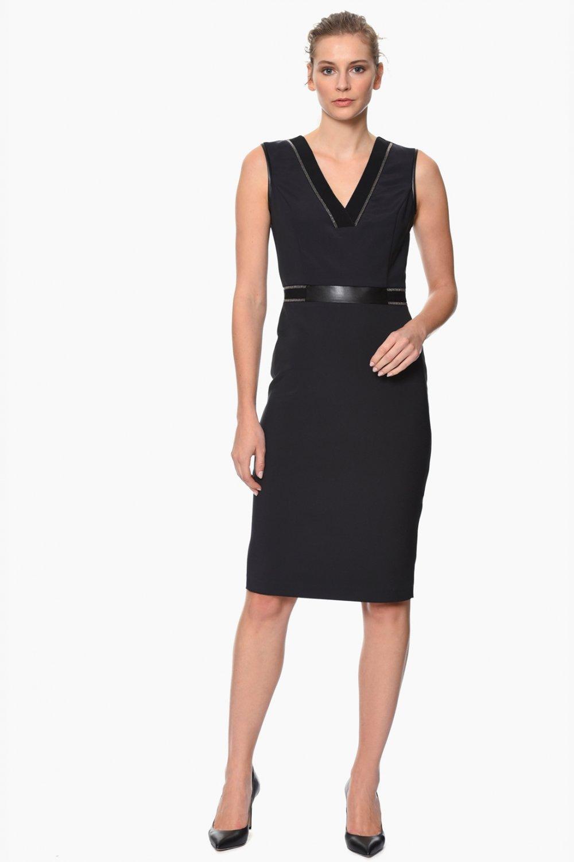 4dc4bbc945a4b Network Siyah V Yaka Kalem Midi Elbise | ElbiseBul