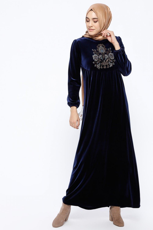 dea424a4a5779 Ginezza Lacivert Drop Baskılı Kadife Elbise | ElbiseBul