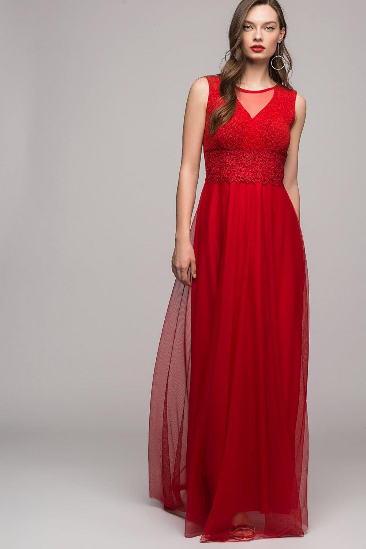 22325991877a2 Size Özel Saygı Kırmızı Beli Dantel Tül Etek Uzun Abiye Elbise ...