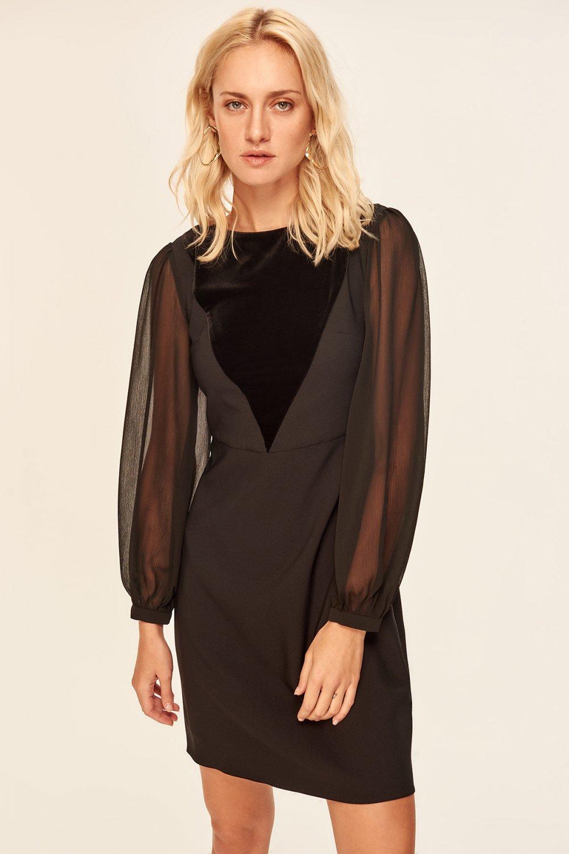 77054d69bf4f0 Trendyolmilla Siyah Kadife Detaylı Mini Abiye Elbise | ElbiseBul