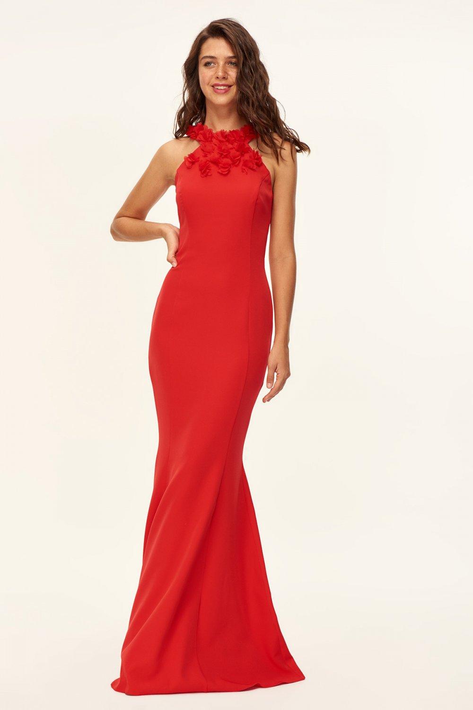 d7d5bb34b003d Trendyolmilla Kırmızı Çiçek Aksesuarlı Uzun Abiye Elbise | ElbiseBul