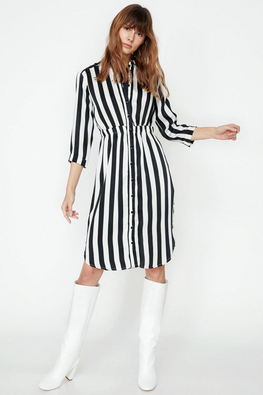 c2479f0eef684 Koton Çizgili Siyah Çizgili Midi Elbise | ElbiseBul