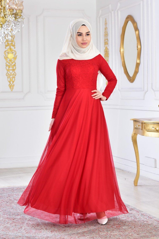 9baab3a6e2c89 Sefamerve Kırmızı Dantelli Şifon Abiye Elbise   ElbiseBul