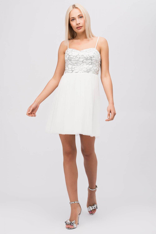 d4a95aa8ef75e Y-london Beyaz İp Askılı Pul İşlemeli Mini Abiye Elbise   ElbiseBul