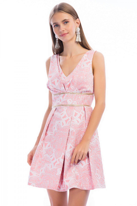 492cf80d406ef Y-london Pembe Sim İşlemeli Mini Abiye Elbise   ElbiseBul