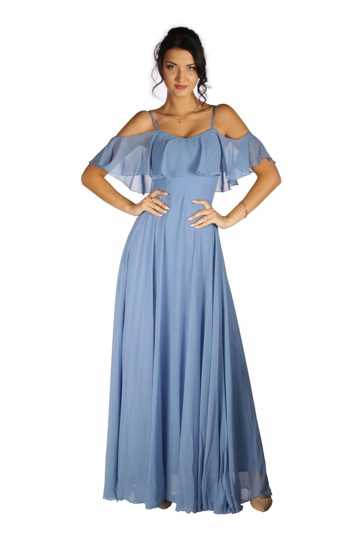 3e8c9fedfd860 6ixty8ight Mavi Düşük Kollu Askılı Uzun Abiye Elbise | ElbiseBul