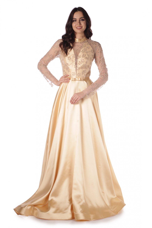 eb198b340eaf7 Pierre Cardin Gold Tüllü Boncuklu Prenses Uzun Abiye Elbise | ElbiseBul