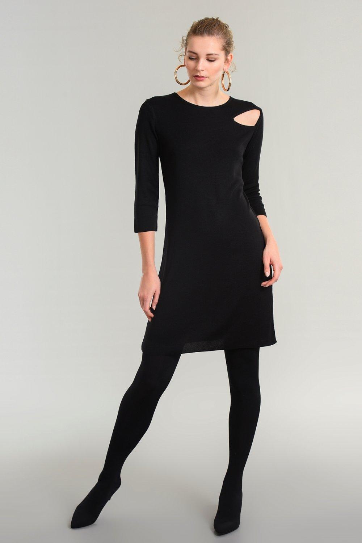 dc0fbac53b8e1 People By Fabrika Siyah Cut Out Detaylı Triko Mini Elbise | ElbiseBul