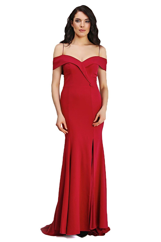 f7933e979e0be Pierre Cardin Kırmızı Askılı Düşük Omuz Uzun Balık Abiye Elbise ...
