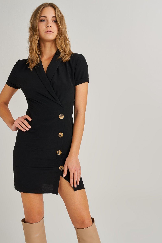 a5abacc3e2b46 People By Fabrika Siyah Düğme Detaylı Mini Elbise | ElbiseBul
