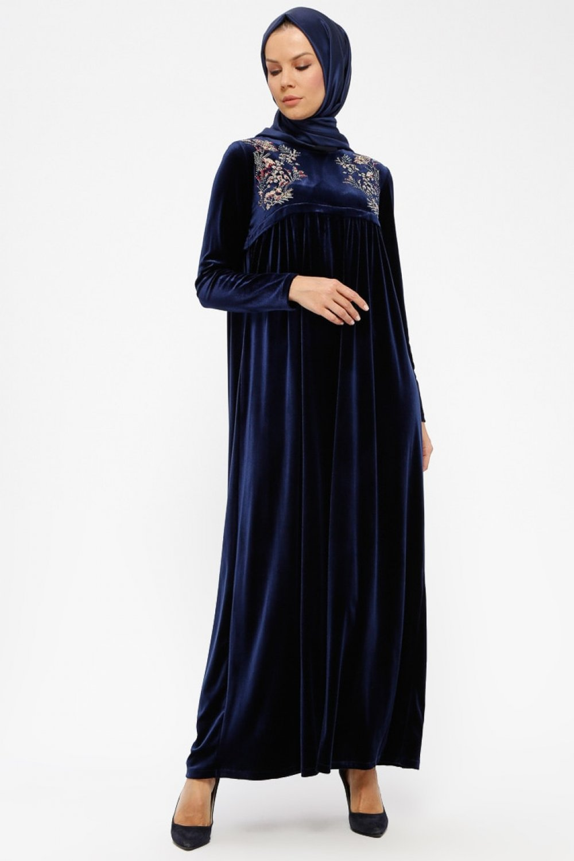 e8e3359aa3856 Ginezza Lacivert Kadife Elbise | ElbiseBul