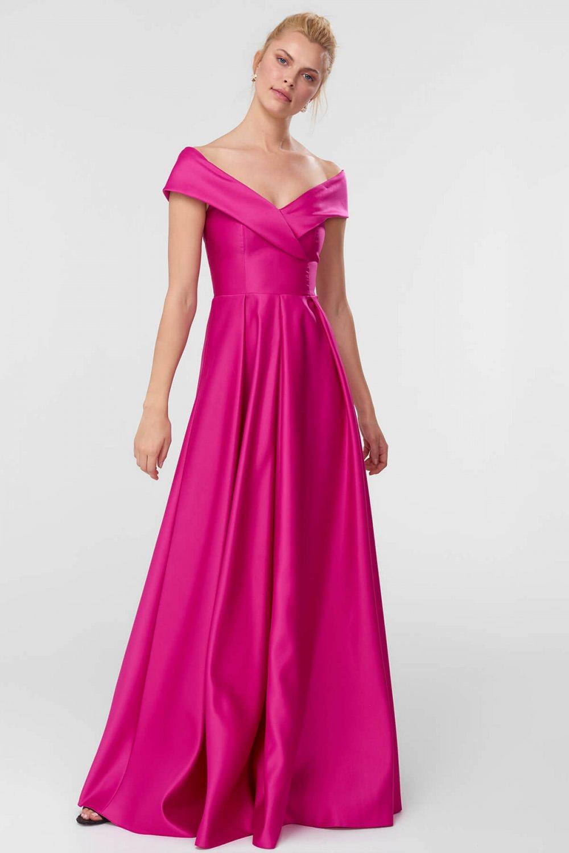 733b5259e1536 Trendyolmilla Pembe Fuşya Carmen Yaka Saten Uzun Abiye Elbise ...