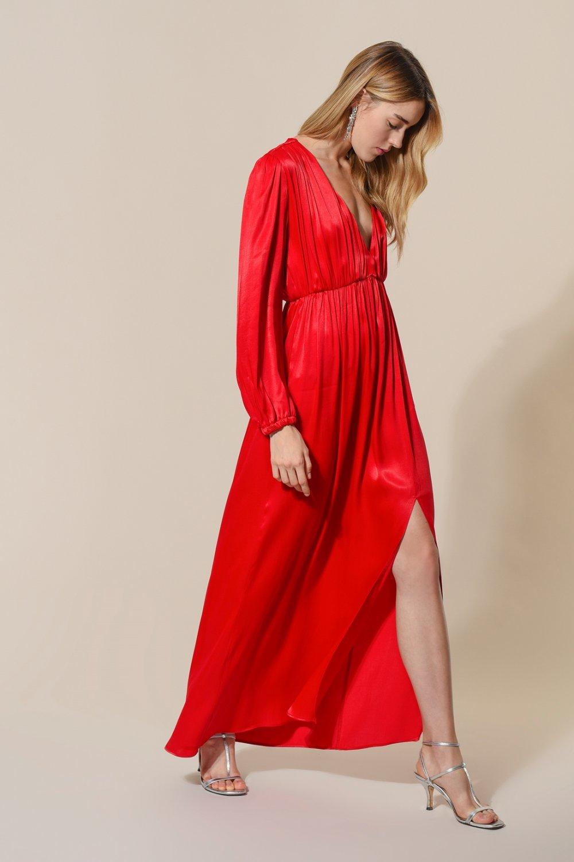 75850cff7f452 Agenda Kırmızı Yırtmaçlı Maxi Saten Uzun Abiye Elbise | ElbiseBul